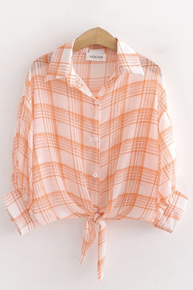 Trendy Womens Plaid Printed Rolled Long Sleeve Spread Collar Button down Tied Hem Loose Shirt Top