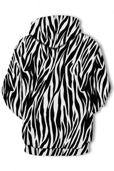 Black Abstract Stripe 3D Printed Long Sleeve Drawstring Kangaroo Pocket Loose Fit Popular Hoodie for Men
