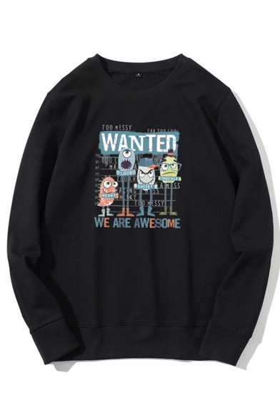Boys Letter Wanted Cartoon Graphic Long Sleeve Crew Neck Loose Trendy Pullover Sweatshirt