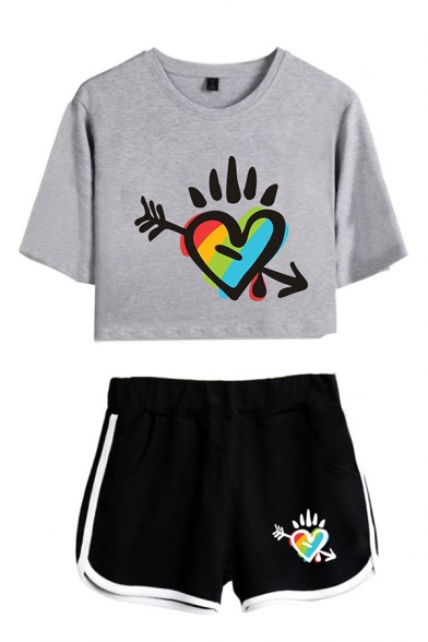 Casual Womens Colorful Heart Pattern Short Sleeve Crew Neck Loose T-shirt & Contrasted Elastic Waist Shorts Set