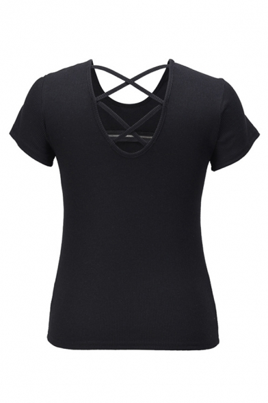 Hot Girls Solid Color Zipper Front Hollow out Rolled Short Sleeve Round Neck Slim Fit Knit T Shirt