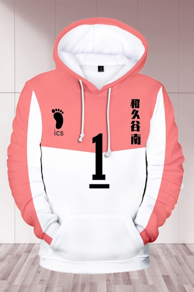Japanese Letter Number 1 Footprint 3D Graphic Color Block Long Sleeve Drawstring Loose Stylish Hoodie in Pink and White