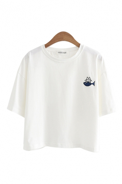 Popular Fish Cat Embroidered Half Sleeves Round Neck Relaxed T-shirt for Girls