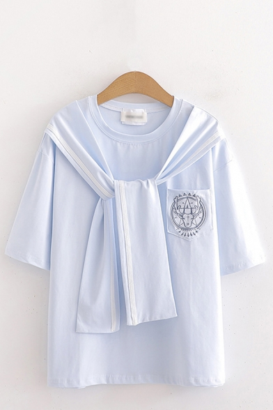 Pretty Girls Striped Tied Front Half Sleeves Sailor Collar Chest Pocket Relaxed T Shirt