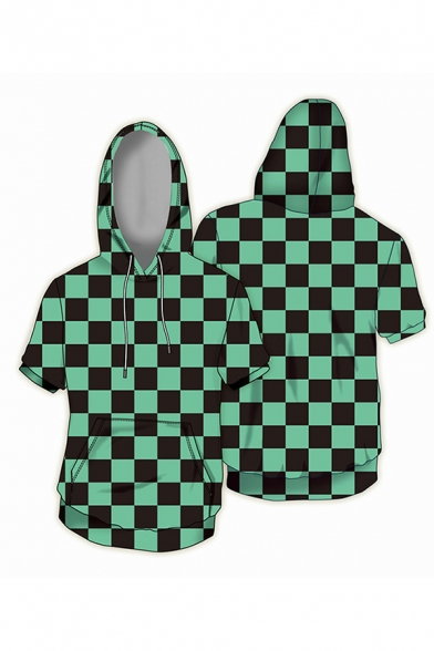 Anime Geo 3D Printed Short Sleeve Drawstring Kangaroo Pocket Regular Fit Trendy Cosplay Hoodie for Men
