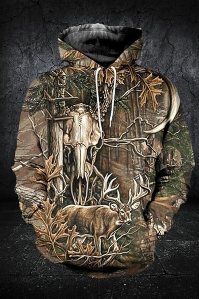 Cool Deer Letter 3D Graphic Long Sleeve Drawstring Kangaroo Pocket Relaxed Fit Hoodie in Brown
