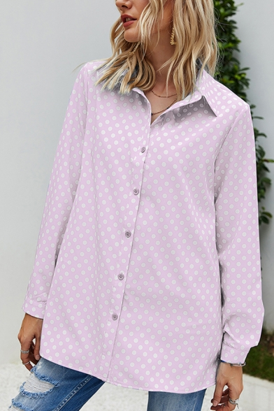 Casual Womens Polka Dot Printed Long Sleeve Spread Collar Button down Relaxed Fit Shirt Top