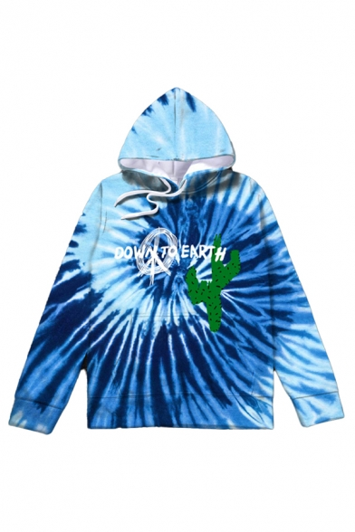 Fashionable Mens Letter Down to Earth Cartoon Graphic Tie Dye Vortex Long Sleeve Drawstring Pouch Pocket Loose Hoodie