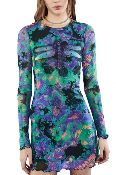 Womens Novelty Dragonfly Pattern Multicolor Paint Splatter Lettuce Trim Crew Neck Long Sleeve Slim Mini Mesh Dress