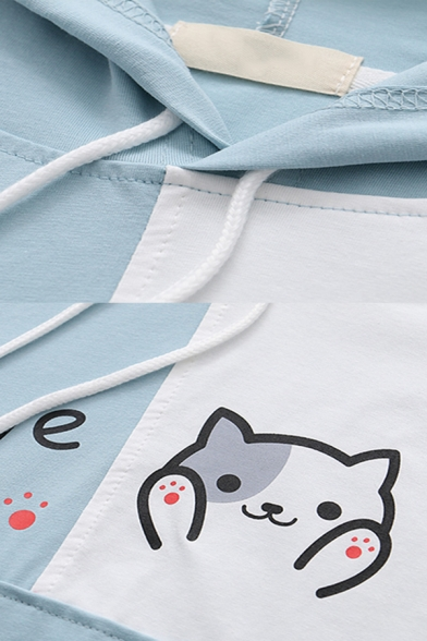 Fashionable Girls Letter Give Cat Graphic Colorblock Short Sleeve Drawstring Pouch Pocket Loose Hoodie