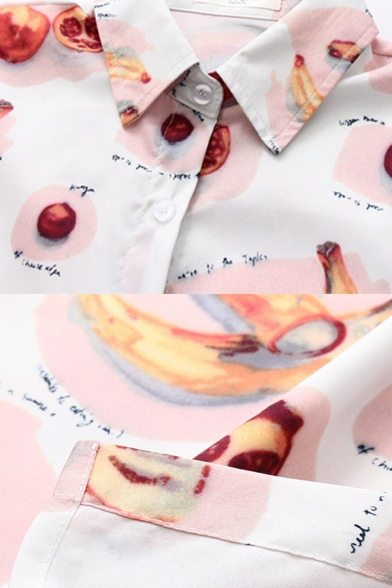 Mixed Cartoon Fruit Graphic Short Sleeve Turn-down Collar Button down Curved Hem Loose Popular Shirt in White