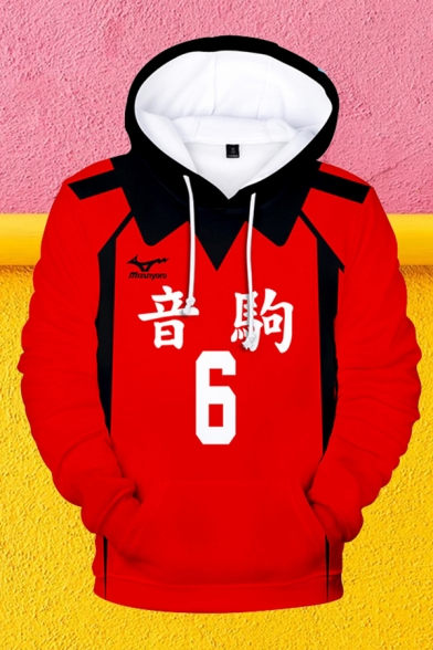 Chinese Letter Number 3D Cosplay Print Contrasted Long Sleeve Drawstring Pouch Pocket Loose Popular Hoodie in Red