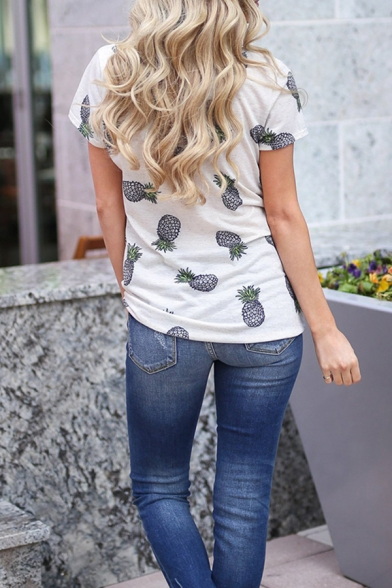 Leisure Womens All over Pineapple Printed Short Sleeve Round Neck Twist Hem Loose T-shirt in White