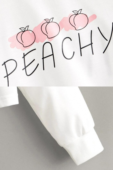 Letter Peachy Cartoon Peach Graphic Long Sleeve Round Neck Loose Trendy Crop Tee for Women