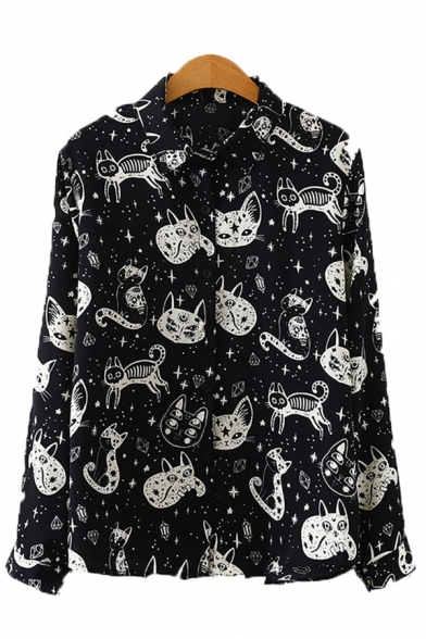 Allover Cartoon Cat Printed Long Sleeve Turn-down Collar Button up Relaxed Fit Chic Shirt for Girls