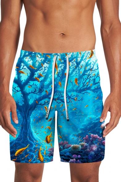 Blue Shark Ocean 3D Patterned Drawstring Waist Relaxed Straight Swimming Shorts for Men