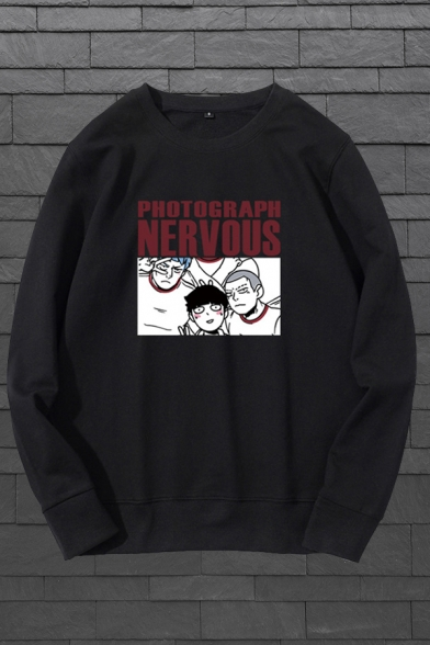 Casual Guys Letter Photograph Nervous Cartoon Graphic Long Sleeve Crew Neck Relaxed Pullover Sweatshirt