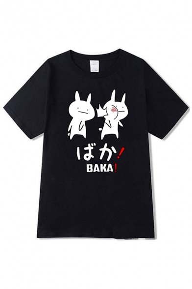 Japanese Letter Rabbit Graphic Short Sleeve Crew Neck Relaxed Fit Cool T Shirt for Guys