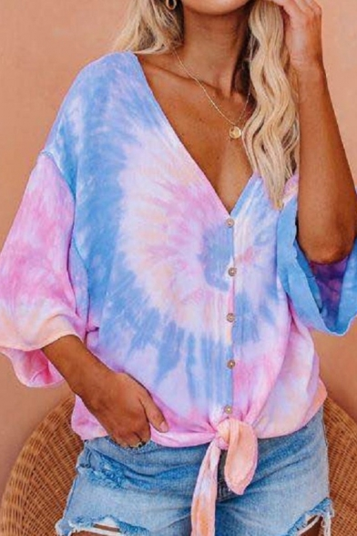 Tie-dye Pattern 3/4 Sleeves V-neck Bow Tie Hem Loose Fit Stylish Shirt Top for Women