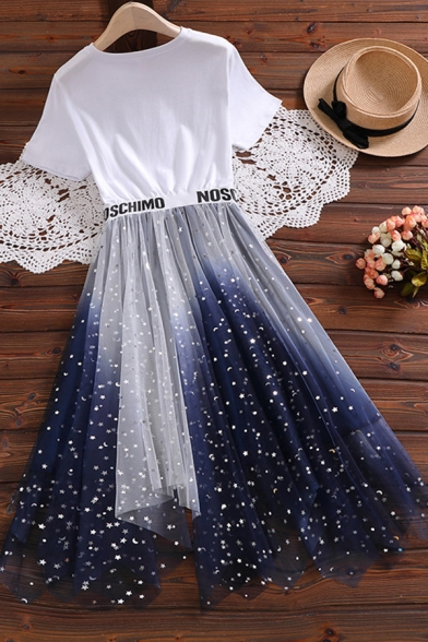 Fashion Girls Letter Hane Colette Heart Graphic Short Sleeve Crew Neck Sequins Ombre Mesh Tape Panel Mid Pleated A-line T Shirt Dress in Blue