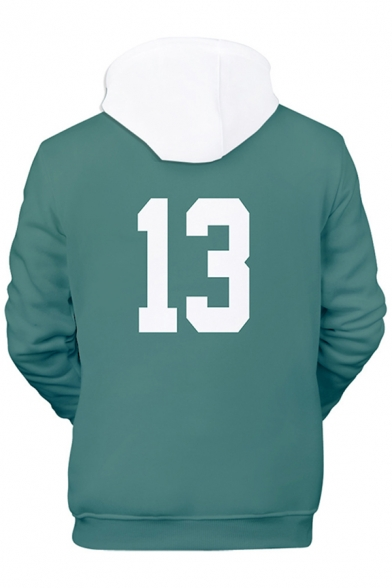 Green Contrasted Letter Number 13 Print Long Sleeve Drawstring Loose Popular Cosplay Hoodie for Men