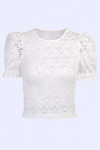 Classic White Floral Pattern Lace Round Neck Short Sleeve Slim Fit T Shirt for Women