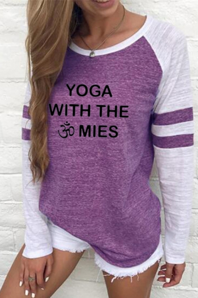 Letter Yoga with The Mies Print Varsity Striped Contrasted Long Sleeve Round Neck Regular Fit Casual T Shirt for Women