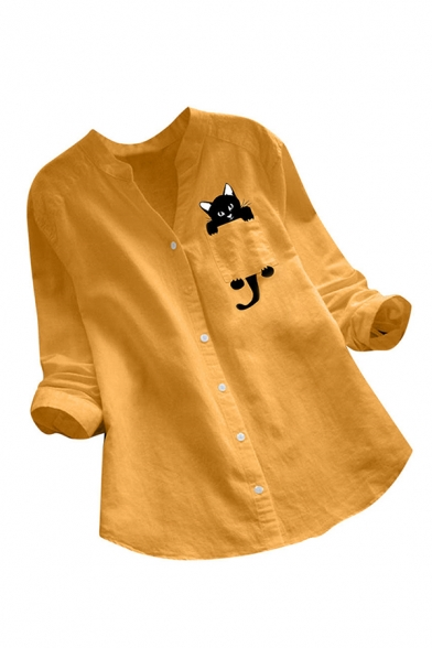 Popular Womens Linen and Cotton Pocket Cat Printed Long Sleeve V-neck Curved Hem Relaxed Shirt
