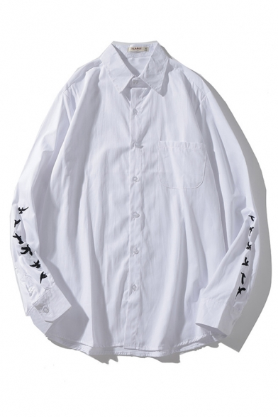 Simple Mens Bird Embroidery Pocket Button down Point Collar Long Sleeve Relaxed Fit Shirt in White