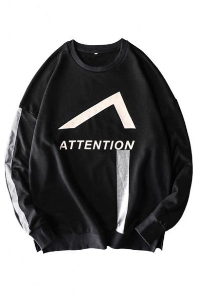 Street Boys Letter Attention Chevron Graphic Tape Panel Long Sleeve Crew Neck Loose Pullover Sweatshirt in Black