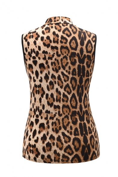 Stylish Ladies Leopard Printed Sleeveless Mock Neck Cut out Slim Fit Tank Top in Brown