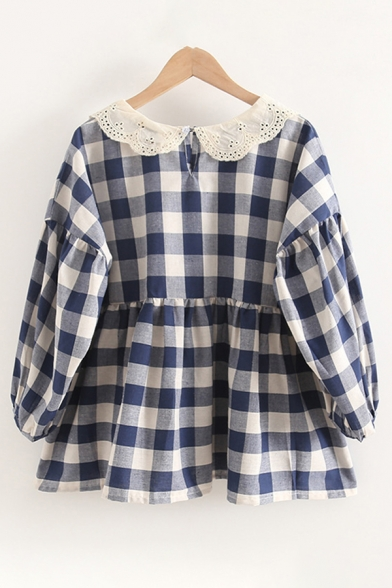 Trendy Girls Checkered Patterned Blouson Sleeves Lace Peter Pan Collar Ruffled Trim Loose Fit Shirt in Blue