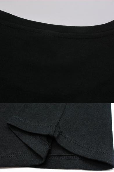 Black Cartoon Figure Print Rolled Short Sleeves Crew Neck Regular Fit Stylish T-shirt for Girls