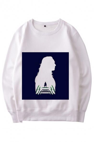 Cool Mens Cartoon Printed Long Sleeve Crew Neck Loose Pullover Sweatshirt