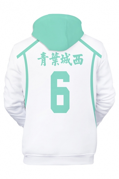 Creative 3D Cosplay Number Print Contrasted Long Sleeve Drawstring Pouch Pocket Relaxed Fit Hoodie in White