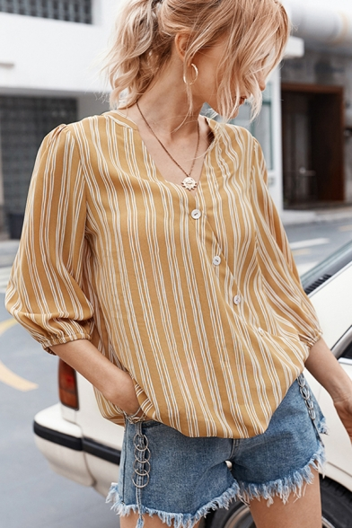 Trendy Stripe Printed 3/4 Sleeves Surplice Neck Oblique Button down Loose Fit Shirt Top for Women