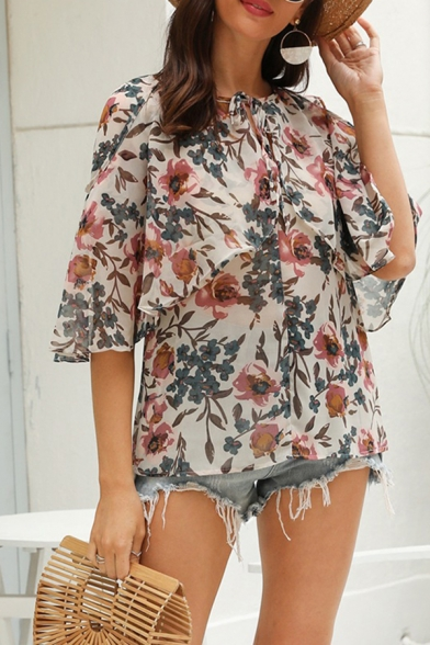 Boho Chiffon 3/4 Sleeves Crew Neck Bow Tied Patched Loose Fit Blouse Top in Apricot