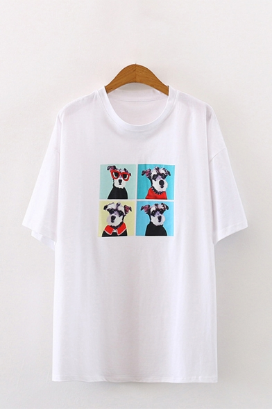 Cartoon Dog Printed Half Sleeves Round Neck Loose Fit Popular Tee Top for Girls