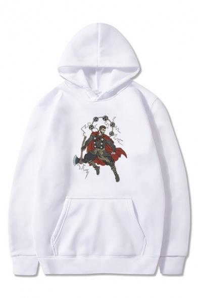 Fancy Mens Cartoon Character Printed Pocket Drawstring Long Sleeve Regular Fitted Hooded Sweatshirt