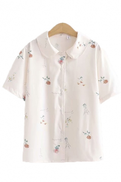 Fancy Womens Allover Floral Printed Short Sleeve Peter Pan Collar Button up Relaxed Shirt in White