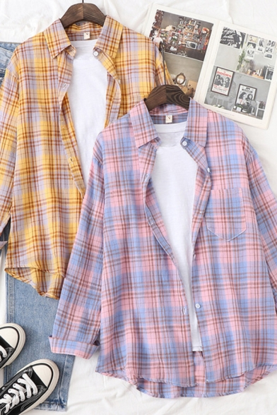 Fashionable Womens Plaid Printed Long Sleeve Spread Collar Button down Chest Pocket Curved Hem Loose Fit Shirt Top