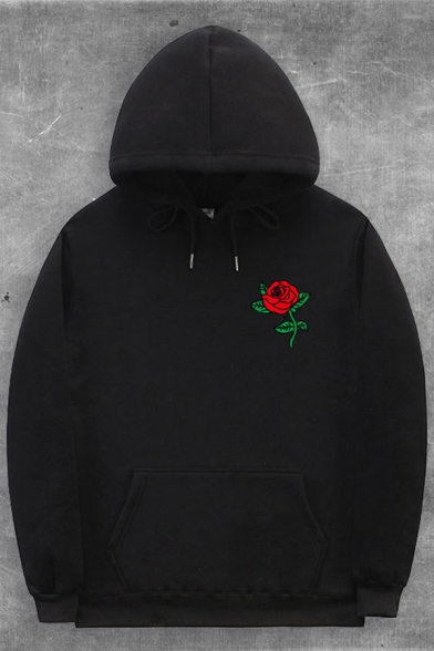 Leisure Boys Rose Printed Long Sleeve Drawsring Rose Printed Pouch Pocket Relaxed Hoodie