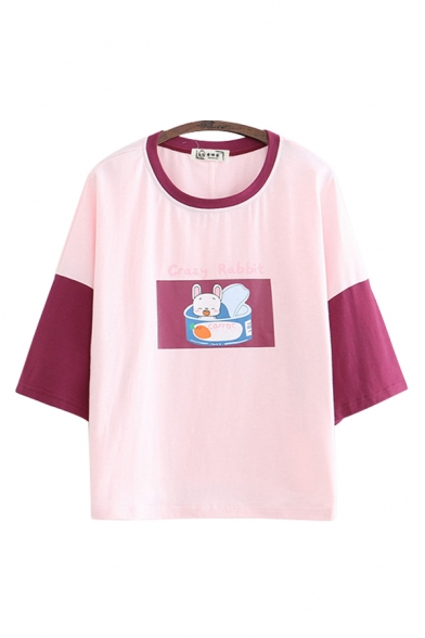 Letter Crazy Rabbit Cartoon Rabbit Graphic Contrasted 3/4 Sleeves Crew Neck Loose Leisure T Shirt for Women