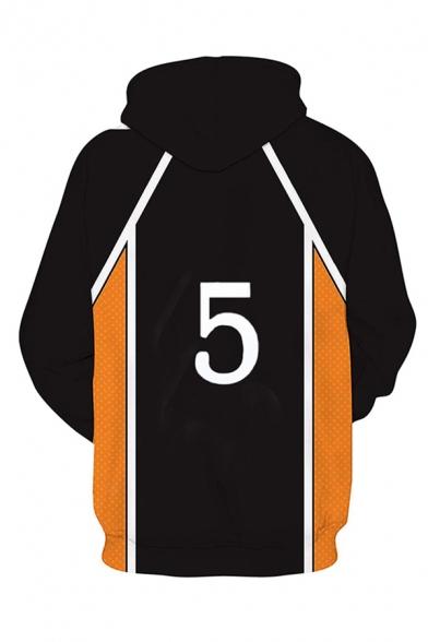 Popular Boys Japanese Letter Number Footprint 3D Cosplay Print Contrasted Long Sleeve Drawstring Loose Hoodie in Black