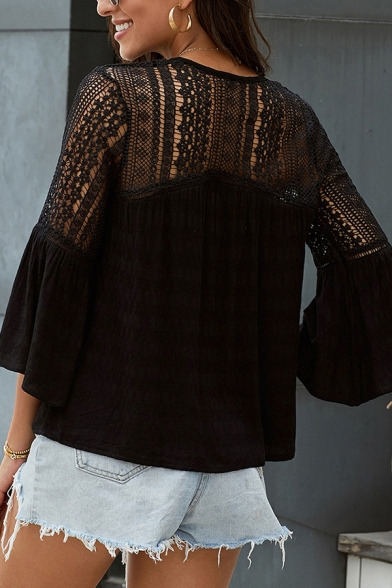 Sexy Ladies Solid Color Bell Sleeves V-neck Button down Hollow out Lace Patched Loose Blouse Top