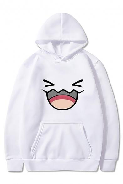 Casual Mens Laugh Emoji Pattern Drawstring Pocket Long Sleeve Regular Fit Hoodie