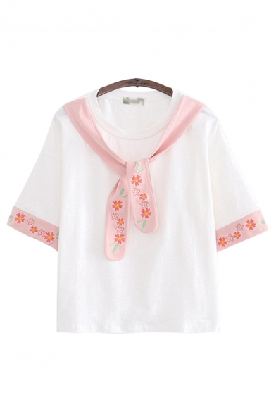 Fancy Floral Embroidered Tied Front Short Sleeve Round Neck Relaxed T-shirt