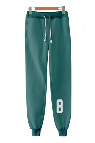 Athleta Guys Number Printed Drawstring Waist Ankle Cuffed Carrot Fit Sweatpants in Green