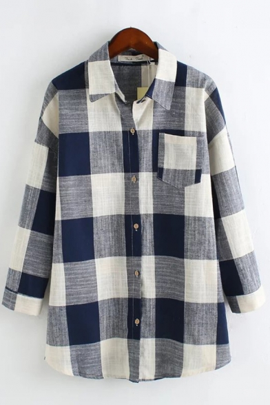 Leisure Ladies Checkered Pattern Chest Pocket Long Sleeve Spread Collar Button down Loose Fit Long Shirt