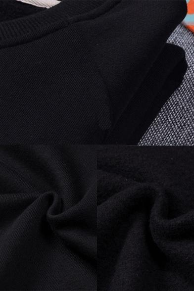 Street Guys Astronaut Moon Printed Long Sleeve Crew Neck Relaxed Pullover Sweatshirt in Black
